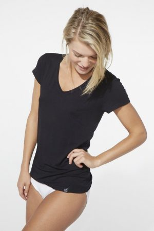 Boody Womens V Neck T-shirt black