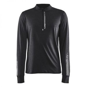 Craft Mind LS Reflective Zip T - Black melange