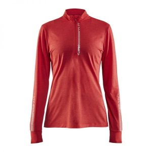 Craft Mind LS Reflective Zip T - Poppy melange